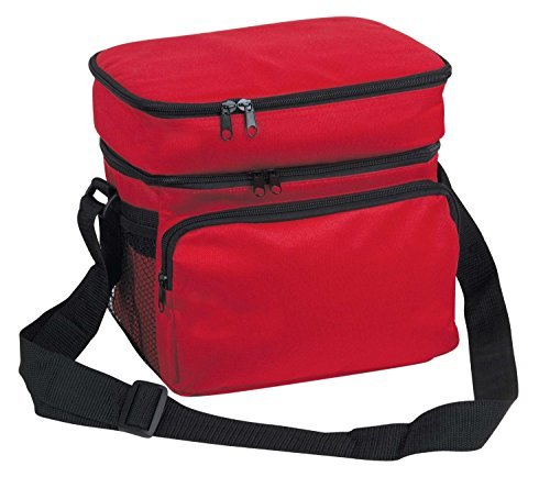 10-deluxe-cooler-reusable-lunch-bag-8-can-insulated-with-carry-handle-shoulder-strap-red-by-proequip