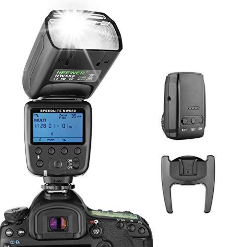 Neewer Flash Inalámbrico Speedlite para Canon Nikon Sony Panasonic Olympus Fujifilm y Cámaras DSLR con Zapata Estándar, Pantalla LCD, Sistema Inalámbrico 2,4G y Transmisor (NW580)