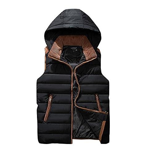 Doudoune Ultra Homme Manteau Gilet Sans Manche Veste épais en Hiver à capuche Quilted Hooded Chaud