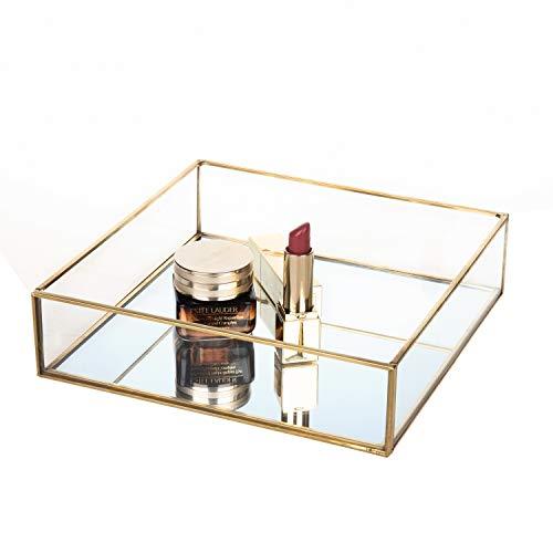 Kunstvolles Kosmetische Jewelry Organizer Vanity Tray verspiegelt Dekoratives Tablett für Home Parfum Skin Care ()