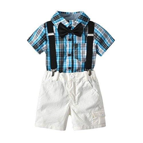 QinMM Kids Baby Gentleman Set, Jungen Bowtie Plaid Kurzarm Shirt + Hosenträger kurze Sommer Kinder Kleidung Set Cute Set Blau 12M-4T (12M, Blau)