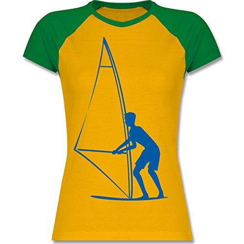 Wassersport - Surfer - zweifarbiges Baseballshirt / Raglan T-Shirt für Damen  Gelb/Grün