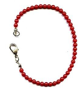 Bracelet de 17 cm composé de Corail Rouge en perles de 4 mm
