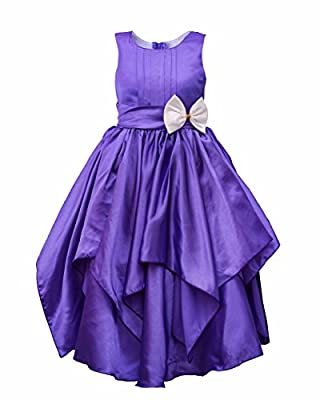 My Lil Princess Cute & Pretty Kids Baby Girls Fairy Frock Dresses for Birthday Party & Festivals and Special Functional Wear Size 4-10Years Satin Purple Gown Gown