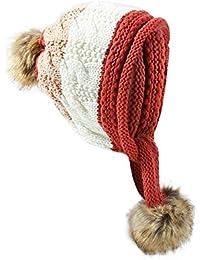 LETTER Sombrero de Punto de Tres Bolas de Invierno para Mujer Protección de la Oreja de