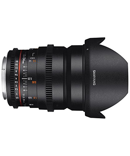 Samyang 24 mm T1.5 VDSLR II Manual Focus Video Lens for Canon DSLR Camera