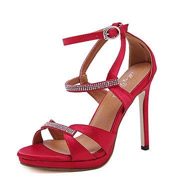 LvYuan Da donna-Sandali-Formale-AltroSeta-Nero Rosso Red