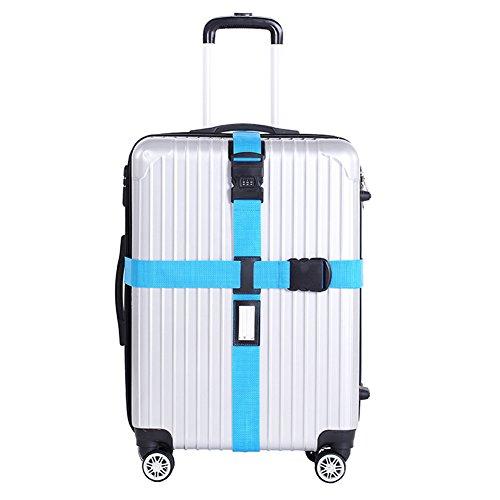 Chickwin Croix de nylon Baguette de bagage Ceinture de bagage réglable Valise de ceinture Emballage de sécurité Verrouillage de mot de passe Courroies de boucle (Bleu)
