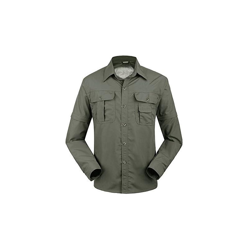 TACVASEN Quick Dry Men's UV Protection Convertible Sleeve Shirt