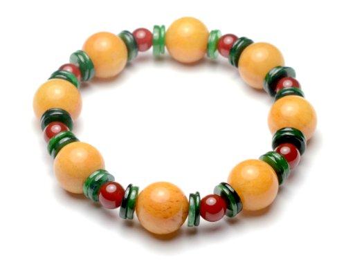 Elegant Damen Gelb Jade Armband mit Grünen und Rot Jade Beads - Fortune Feng Shui Jade Schmuck (Jade Rot)