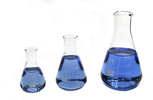 Erlenmeyerkolben Set; 50ml, 100ml, 250ml; Schmale Hals, eisco Labs 3,3Borosilikatglas -