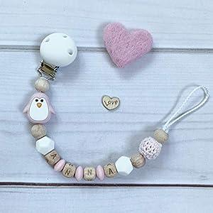 Schnullerkette Nuckelkette rosa weiß beige Silikon mit Namen Holz Pinguin