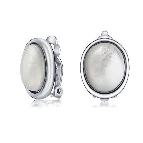 Basic Oval Weiß Perlmutt Lünette Button Stil Ohrclips Ohrringe Für Damen Nicht Durchstochene Ohren Versilbertes Messing