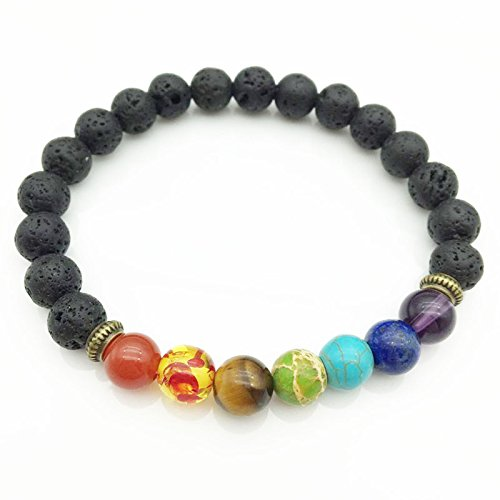 SODIAL Healing bracelet 7 chakras Amulet bracelet for men and women Buddha prayer stones Reiki black lava beads