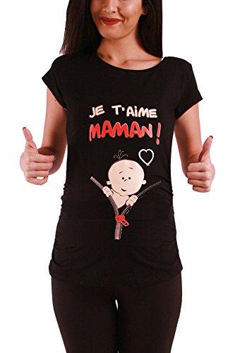 Je t'aime maman - Lustige witzige süße Umstandsmode / Umstandsshirt mit Motiv für die Schwangerschaft / T-Shirt Schwangerschaftsshirt, Kurzarm Schwarz