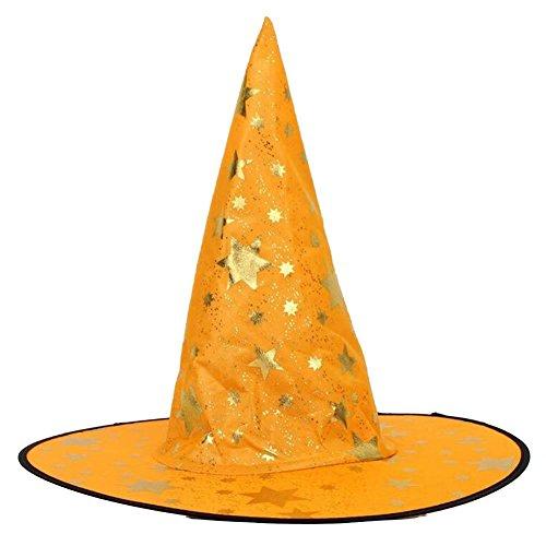 Jspoir Melodiz 1pc Halloween Kostüm für Frauen Kinder Hexenhut Magier Hut Zauberer Hut Erwachsene Halloween Requisiten für Halloween Make-up Party (orange)