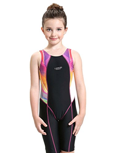 Centrawin Girls' Splice Athletic Competitive Full Knee Lenght One-Piece Swimsuits Racerback Legsuit (5-15 Years Old)