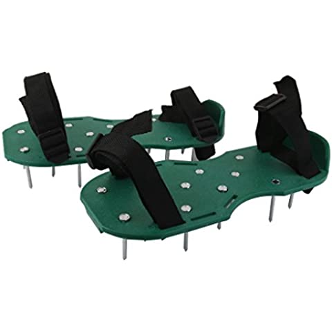 Aireador de Césped en Zapatos Picos Largos Color Verde para Cuidado de Jardín