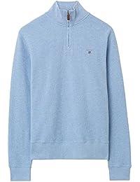 Gant Homme Honeycomb Half Zip Logo Knit, Bleu