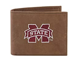 NCAA Mississippi State Bulldogs Zep-Pro Crazyhorse Leather Passcase Embroidered Wallet, Light Brown