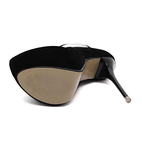 GS~LY Testa circolare Cava alta aiuto scarpe scarpe piattaforma tacchi di donne Black