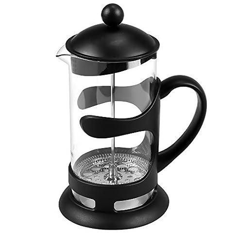 1L Französisch-Art kaffeekanne, Press Kaffee-Tee-Maschine 1000ml Kaffeebereiter Press Pot Edelstahl Glas Material Schwarz (28 x 19,5 x 18