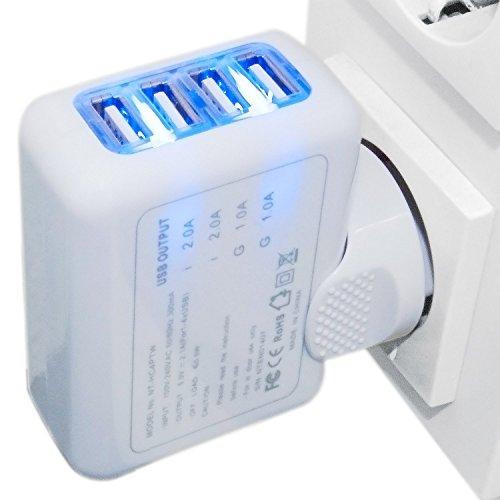 Universal 4 Fach Multi Schnellladegerät Netzteil Wand Adapter Netzadapter USB Ladegerät für Alle Handy, Smartphones und Tablets 2.1A