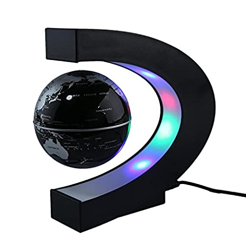 Form C magnetische Levitation, schwebende Welt Karte Globus Drehen mit LED-Licht, schwarz