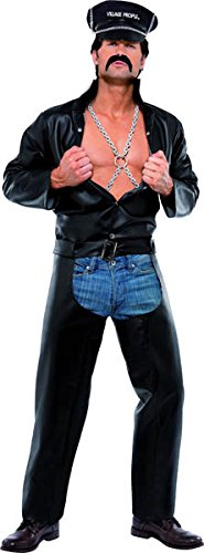 Village People Biker Kostüm Schwarz mit Oberteil Chaps Mütze mit Kette und Harness, One Size
