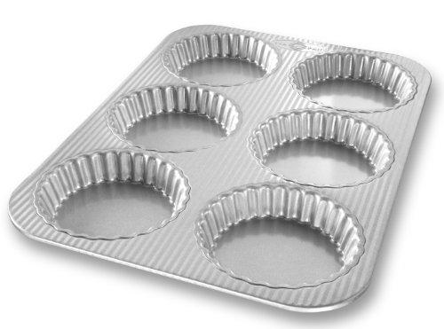 USA Pan Bakeware aluminisierten Stahl Mini aus Tart Pan, 6-well Fluted Mini-tarte