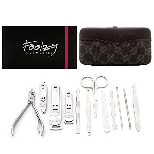 Foolzy MS-JMD-16 Manicure Pedicure Set with 12 Tools, Multicolor