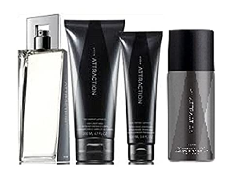 Attraction for him - Set of 4 – EDT, Body Spray. Hair and Body Wash and After Shave Conditioner.