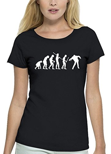 Halloween Premium Damen T-Shirt aus Bio Baumwolle Evolution Zombie Marke Stanley Stella Black