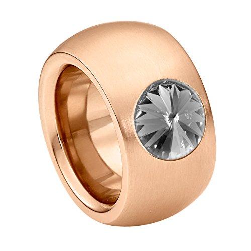 Heideman Damen-Ring coma 14 roségold Gr.61 swarovski kristalle black diamond 10mm Rosegoldring Ring rosegold mit Stein Zirkonia Edelstein Edelstahl Größe 61 (19.4) hr9100-8-215-61 (Black Ringe Diamond)