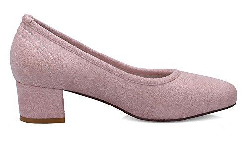 AllhqFashion Femme Dépolissement Tire Carré à Talon Bas Couleur Unie Chaussures Légeres Rose