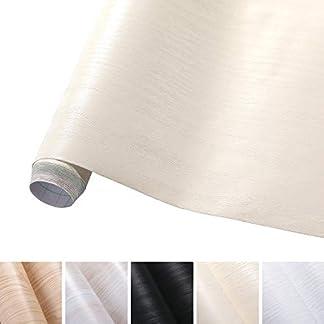 KINLO Pegatina de Mueble de Madera Ropa 0,61 * 5M Autoadhesivo Papel Pintado Impermeable para Muebles/Cocina/Baño Color Beige