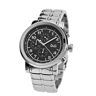 D&G Dolce&Gabbana DW0489 – Reloj cronógrafo de caballero de cuarzo con correa de acero inoxidable plateada (cronómetro) – sumergible a 50 metros