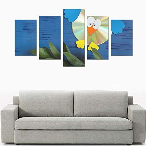 Bunte Brechungseffekte auf DVDs (ohne Rahmen) Leinwanddruck Sets Wandkunst Bild 5 Stück Gemälde Poster Drucke Foto Bild auf Leinwand Fertig zum Aufhängen Für Wohnzimmer Schlafzimmer Home Office Wandd (Schöne Vögel-dvd-set)