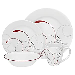 corelle geschirr set splendor round aus vitrelle glas f r 4 personen 16 teilig splitter und. Black Bedroom Furniture Sets. Home Design Ideas