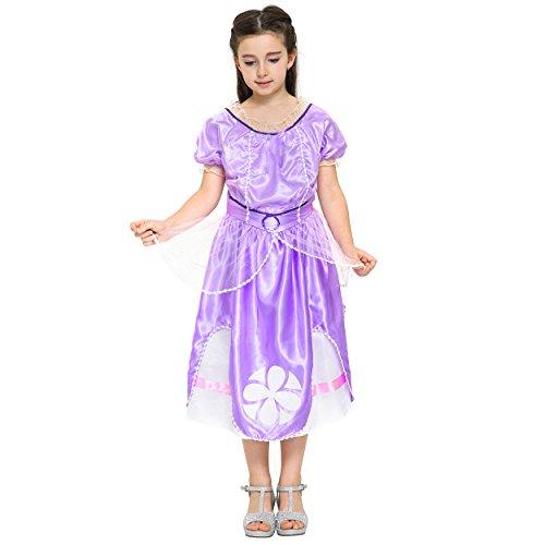 Imagen de katara 1745  disfraz de princesa sofía, vestido de hadas con mangas cortas para niñas de 7 y 8 años, color violeta alternativa