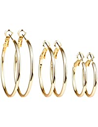 "SIX ""Essentials"" 3er Set gold farbene glänzende Creolen in verschiedenen Größen, 2,5 - 4 cm, Damen Ohrring, Ohrhänger, loop earring (708-383)"