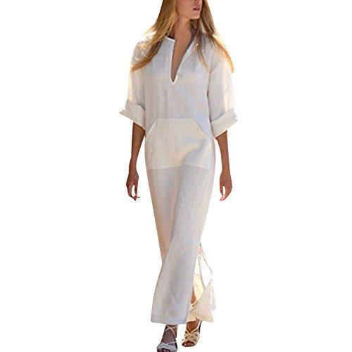 Baumwolle Lange Ärmel Einfaches Freizeit Übergroße Maxi Langes Hemdkleid ()