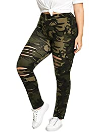 SMILEQ® Fashion Plus Size Womens Camouflage Leggings Trousers Sport Hole  Casual Pants 6825fc5c5dfe