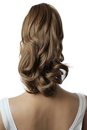 PRETTYSHOP 35cm Clip sur l'extension postiche Pièce de cheveux ondulé Look naturel fibres résistant à la chaleur brun moyen # 12 H85