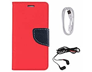 Avzax Diary Look Flip Wallet Case Cover For Nokia Lumia 535 (Red) + Data Cable + In Ear Headphone