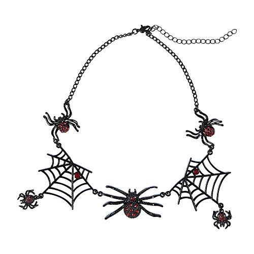 (Widmann 09662 Halskette mit Strassspinnen, Damen, Silber/Schwarz, Taglia Unica)