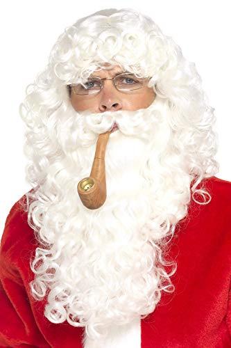 Smiffys Herren Weihnachtsmann Set, Perücke, Bart, Brille und Pfeife, One Size, Weiß, ()