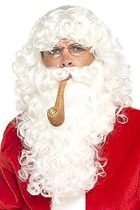 Smiffys-30069 Kit de Disfraz de Papá Noel, con Peluca, Barba, Gafas y Pipa, Deluxe, Color Blanco, No es Applicable (Smiffy