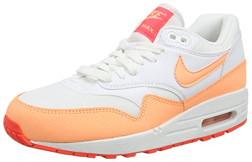 Nike Air Max 1 Essential, Chaussures de Running Entrainement Femme blanc (White/Sunset Glow-Hot Lava 114)