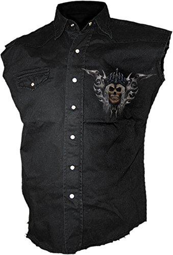 Spiral-Pantaloni Morte dell' Esercito-Senza maniche Slavato lavoratore Nero Black L